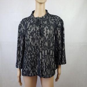 Jockey Black White Lace Coat Size XXL